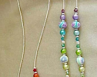 SHE SHE RAINBOW Flower FIimo and Crystal  Eyeglass Chain