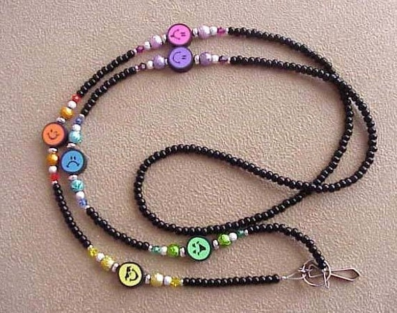 MOODY SMILEY FACE Rainbow Id Badge Holder Lanyard