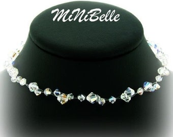Swarovski Crystal Illusion Necklace. Floating Crystal Necklace. Multi Strand Illusion Necklace. Bridal Illusion Necklace. Wedding Jewelry