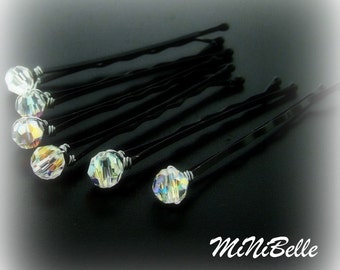 Set of 6 Swarovski Crystal AB Wedding Bridal Hair Pins 6MM ROUND