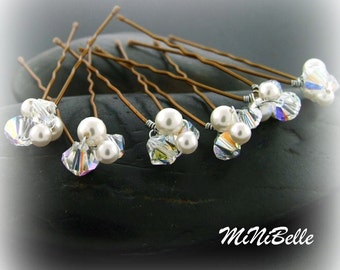 Mini Little Cluster Bridal Hair Pins Set of 6 Swarovski Crystals and White Pearls
