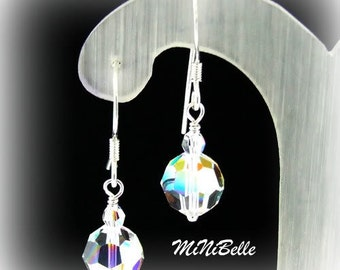Sparkly Swarovski Crystal Rounds Earrings made with 8mm Swarovski Crystals in Crystal Clear AB