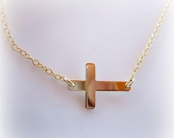Sideways Cross Necklace. Gold Sideways Cross Necklace. sideways cross.
