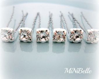 Bridal Hair Pins. Crystal Hair Pins. Swarovski Crystal Bridal Hair Pins. Set of 6 Crystal Hair Pins