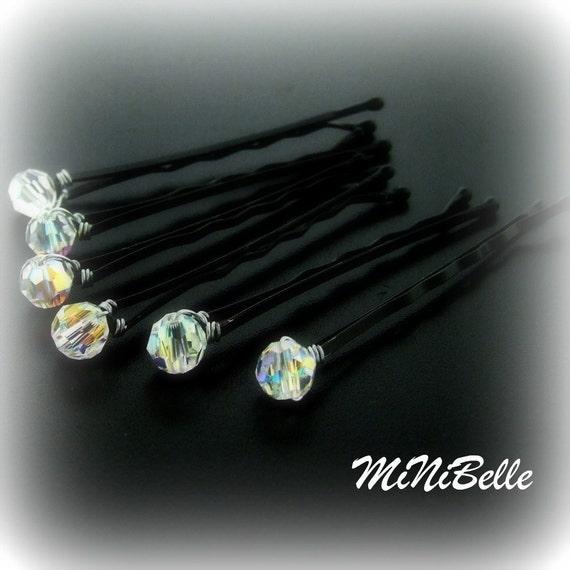 Set of 6 Swarovski Crystal AB Wedding Bridal Hair Pins 6MM ROUND