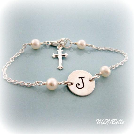Initial Bracelet. Sterling Silver Initial and Cross Bracelet. Pearl Bracelet. Personalized Bracelet. Communion Bracelet