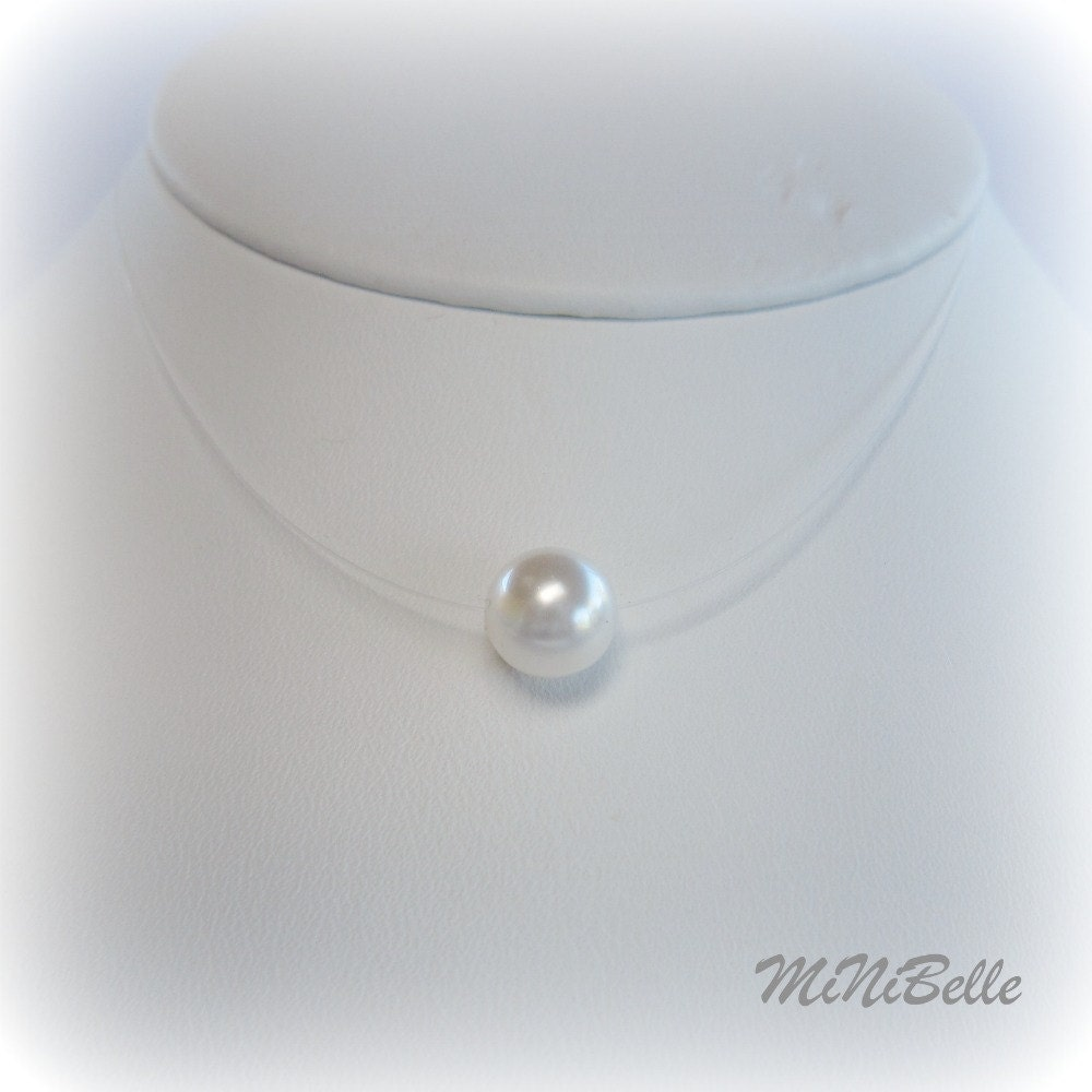 Floating white pearl illusion necklace single white for White pearl