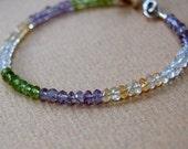 Gemstone Bracelet-Peridot, Amethyst, Blue Topaz and Citrine