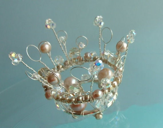 Summer Sale Price....P R I N C E S S   LeAnn's Crown....Cake Jewelry Miniature Tiara..sterling silver freshwater pearl Swarovski Crystal cake topper. READY TO SHIP.