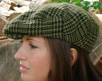 NEW for Fall Winter - Jeff Cap - Ivy - Driving Cap in Green and Black Houndstooth