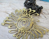 Eye of the Sun Vintage Brass Necklace