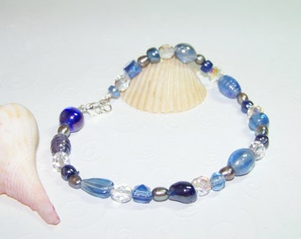 Blue, Crystal and Rainbow Pearl Anklet