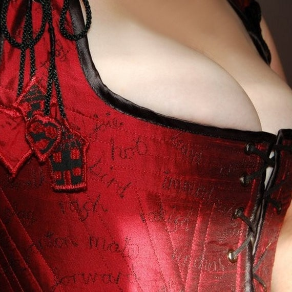 Deep red silk embroidered Strumpet wearable art corset