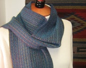 Handwoven Scarf Turquoise Ripples