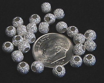 5mm Sterling Silver Stardust Round Beads (25)