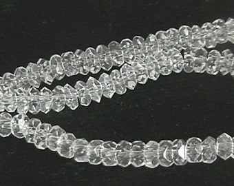 6mm Clear Faceted Crystal Rondelle Beads (110 per strand)