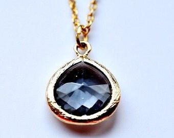 Charcoal Gray Quartz Necklace - sale