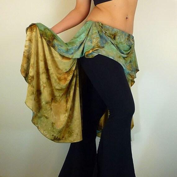 D.Webb Signature Asymmetric Layering Tribal Fusion Belly Dance Skirt  Small / Medium (Khaki Print)