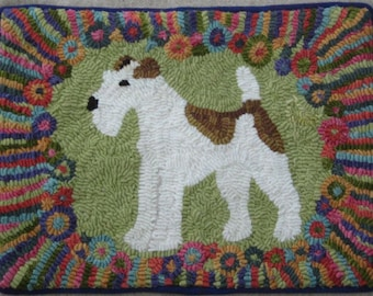 Rug Hooking Pattern on Linen Fleur the Fox Terrier