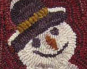 Sweet Snowman Rug Hooking PATTERN Folk Art Needle Craft