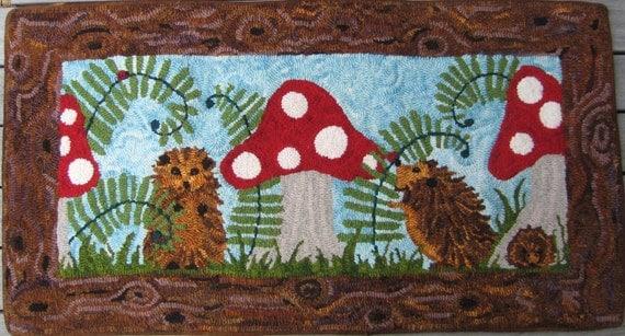 Hedgehog Heaven Hand Hooked Rug Wool On Linen Hedgehogs And Red Cap  Mushrooms