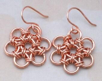 Copper Chain Mail Earrings, Japanese Flower Chain Maille Earrings, Women's Copper Jewelry, Chainmail Jewelry, Women's Jewelry