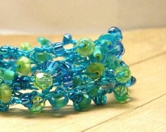 Aqua and Green Beaded Wrap Bracelet, Crochet Beaded Jewelry, Wrap Around Bracelet, Boho Chic Bracelet, Turquoise Color Jewelry