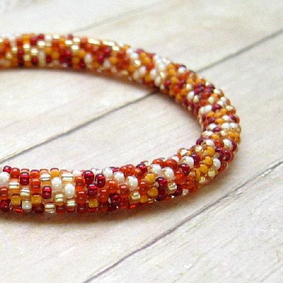 Bead Crochet Bangle Bracelet, Autumn Colors, Gold, Russet, Ivory, Burgandy, Roll On, Seed Bead Tube, Handmade Jewelry