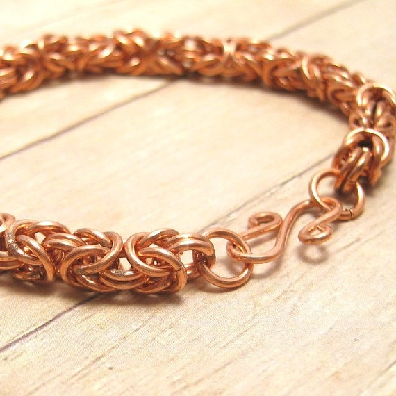 Thick Copper Byzantine Chain Mail Bracelet, Chain Maille, Chainmail Jewelry, Unisex, Men Women