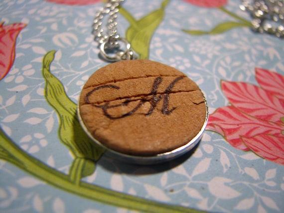 Monogrmed M Cork Necklace