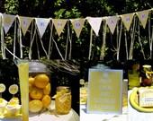 Lemon Themed Party - Lemonade Stand Kit for Kids Printable - Editable Bonus Popcorn Box and Signs
