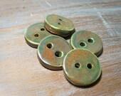 handmade porcelain buttons -- woodland tones -- set of 5