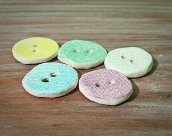 handmade porcelain buttons -- small pastel canvas -- set of 5