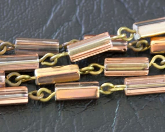 Czech Rose and Bronze Pentagon Glass Beads - Handcrafted Beaded Chain
