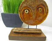 Reserved for Nachokitty - Modernist Mid Century Owl Ceramic - Original, Signed 1966