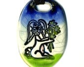 Easter Bunny Ceramic Necklace in Blue and Green Crackle
