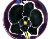 Black Orchid Ceramic Necklace in Purple