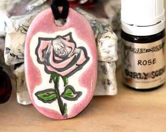 Rose Scented Ceramic Necklace with Rose Essential Oil in Pink small size