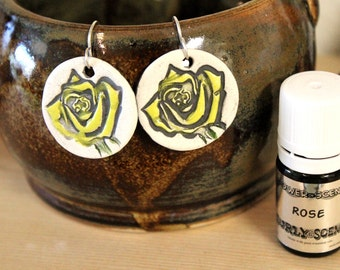 Yellow Rose Scented Ceramic Earrings with Rose Essential Oil