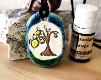 Lemon Scented Ceramic Lemon Tree Necklace with Lemon Essential Oil small size