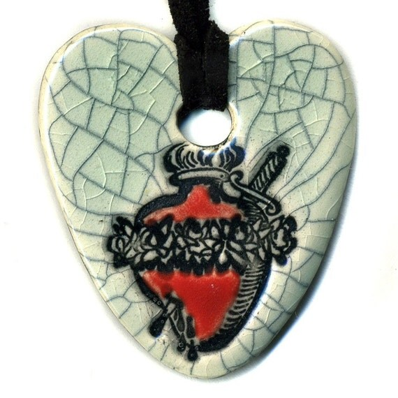Tattoo Style Sacred Heart with Dagger Ceramic Necklace in Crackle