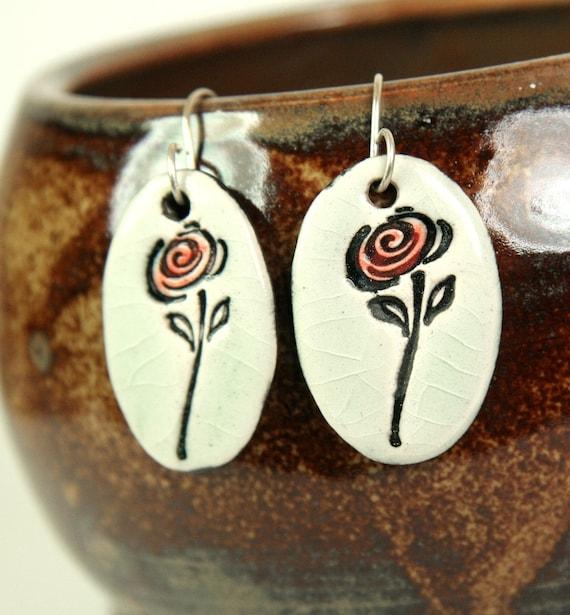 Red Rose Ceramic Earrings in Crackle
