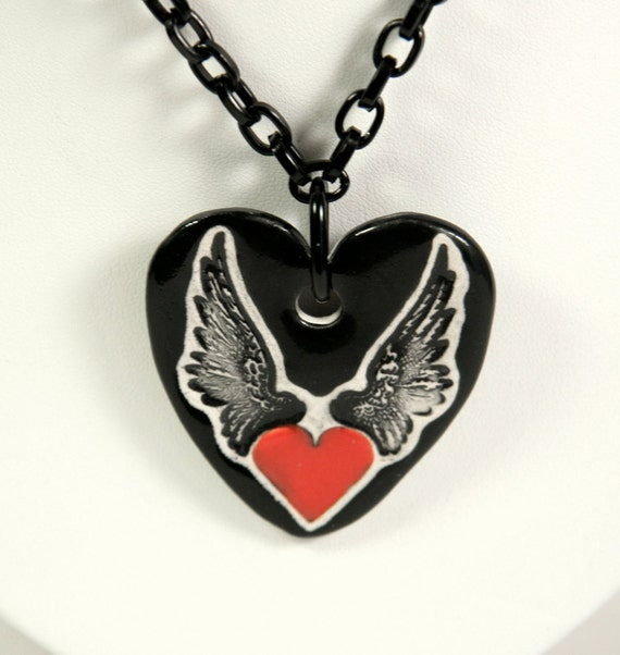 Heart With WIngs Ceramic Pendant Necklace with 26 inch Black Aluminum Chain