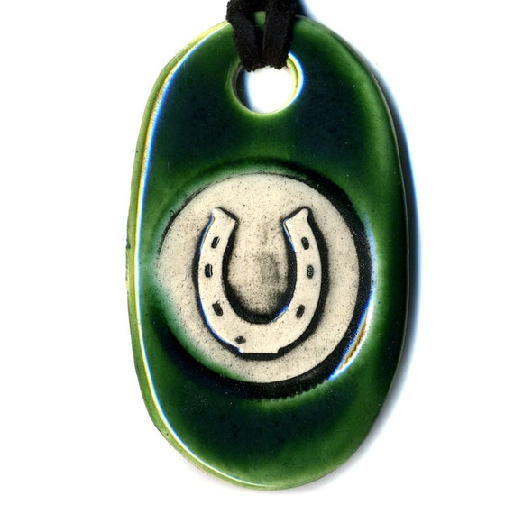 Horseshoe Ceramic Necklace in Green