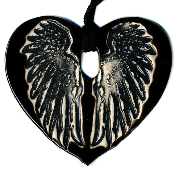 Cloaked Wing Ceramic Necklace in Dark Brown