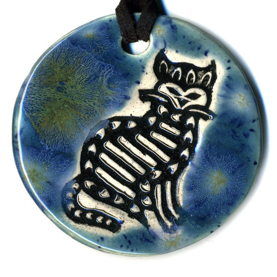 Folk Art Cat Ceramic Necklace in Blue