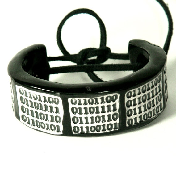 love in lowercase ASCII code Ceramic Bracelet, Bangle or Cuff in Black Size 6.5