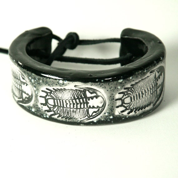 Ceramic Trilobite Bracelet, Bangle or Cuff Size 7.5