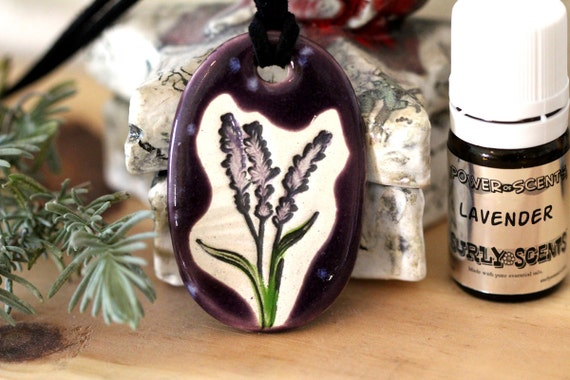 Lavender Scented Ceramic Necklace with Lavender Essential Oil in small size