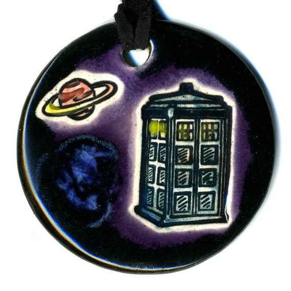 Police Box in Space Ceramic Necklace in Purple and Black